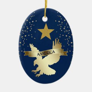 Ornamento De Cerâmica Estrela americana Eagle do ouro