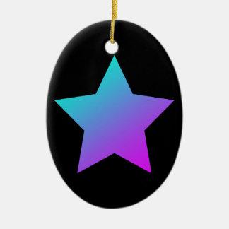 Ornamento De Cerâmica Estrela azul/cor-de-rosa no preto