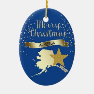 Ornamento De Cerâmica Estrela azul de Alaska do ouro