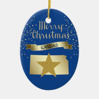 Ornamento De Cerâmica Estrela azul de Kansas do ouro
