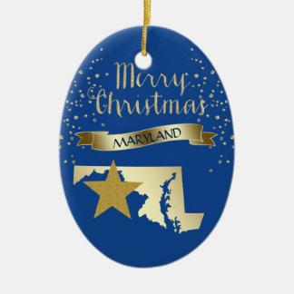 Ornamento De Cerâmica Estrela azul de Maryland do ouro