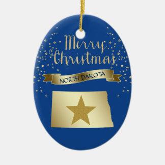 Ornamento De Cerâmica Estrela azul de North Dakota do ouro
