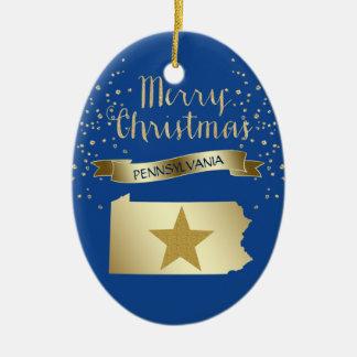 Ornamento De Cerâmica Estrela azul de Pensilvânia do ouro