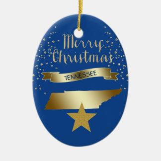 Ornamento De Cerâmica Estrela azul de Tennessee do ouro