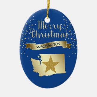 Ornamento De Cerâmica Estrela azul de Washington do ouro