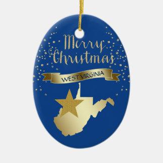 Ornamento De Cerâmica Estrela azul de West Virginia do ouro