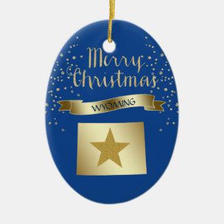 Ornamento De Cerâmica Estrela azul de Wyoming do ouro