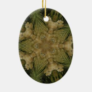Ornamento De Cerâmica Estrela do design do caleidoscópio do verde de