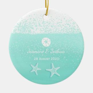 Ornamento De Cerâmica Estrela do mar do dólar de areia da aguarela do