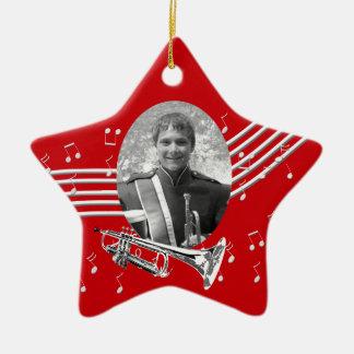 Ornamento De Cerâmica Estrela do vermelho da música da trombeta