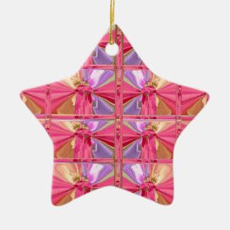 Ornamento De Cerâmica Estrela feliz do sorriso elegante do rosa