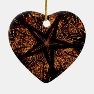 Ornamento De Cerâmica Estrela Kaleidoscopic escura elegante de Brown do