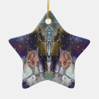 Ornamento De Cerâmica Estrela mágica da folha de bordo