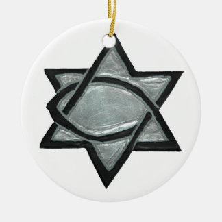 Ornamento De Cerâmica Estrela messiânica de prata
