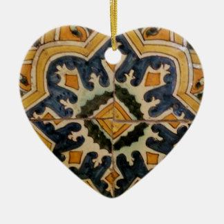Ornamento De Cerâmica Estrela turca do amarelo do azulejo do vintage do