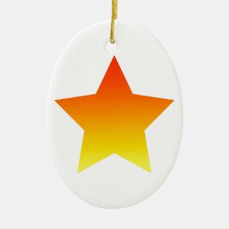 Ornamento De Cerâmica Estrela vermelha/alaranjada