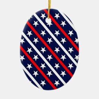 Ornamento De Cerâmica estrelas azuis brancas vermelhas patrióticas