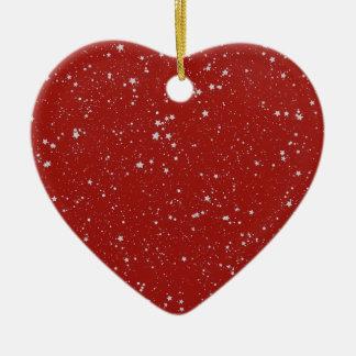 Ornamento De Cerâmica Estrelas do brilho - vermelho de prata