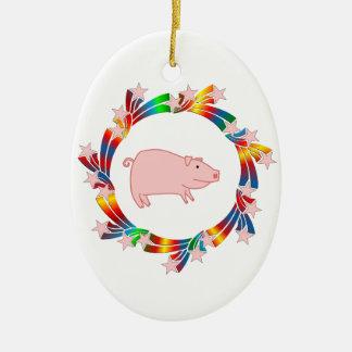 Ornamento De Cerâmica Estrelas do porco