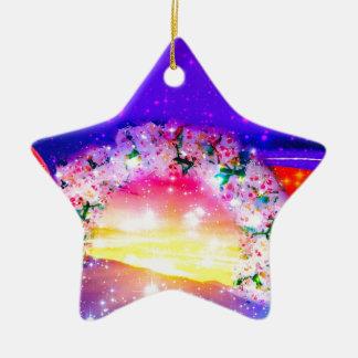 Ornamento De Cerâmica Estrelas e arco-íris das flores na celebração