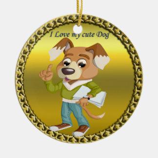 Ornamento De Cerâmica Estudante do cão dos desenhos animados que obtem