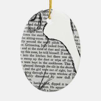 Ornamento De Cerâmica etiqueta do livro de leitura do gato