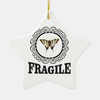 Ornamento De Cerâmica Etiqueta frágil da borboleta