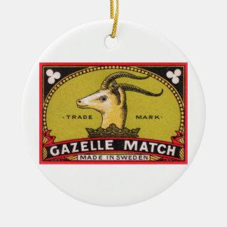 Ornamento De Cerâmica Etiqueta sueco da caixa de fósforos da gazela