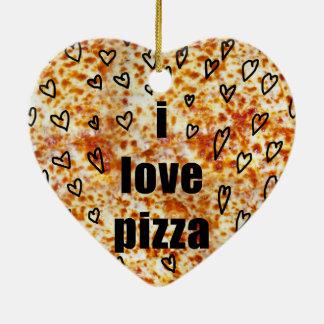 Ornamento De Cerâmica Eu amo a pizza/pizza amo-me