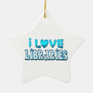 Ornamento De Cerâmica Eu amo bibliotecas