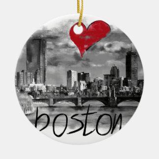 Ornamento De Cerâmica Eu amo Boston