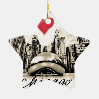 Ornamento De Cerâmica Eu amo Chicago