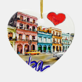 Ornamento De Cerâmica Eu amo Cuba
