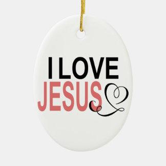 Ornamento De Cerâmica Eu amo Jesus