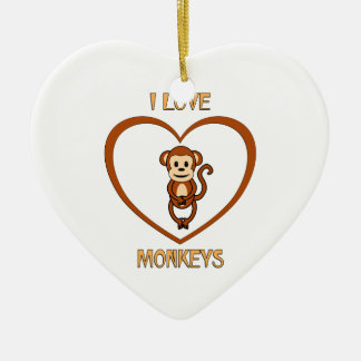 Ornamento De Cerâmica Eu amo macacos