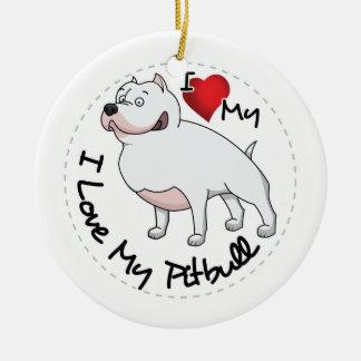 Ornamento De Cerâmica Eu amo meu cão de Pitbull
