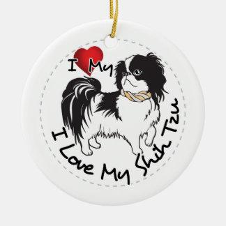 Ornamento De Cerâmica Eu amo meu cão de Shih Tzu