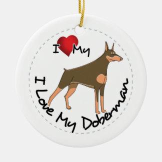 Ornamento De Cerâmica Eu amo meu cão do Doberman