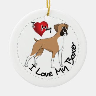 Ornamento De Cerâmica Eu amo meu cão do pugilista