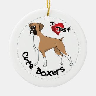 Ornamento De Cerâmica Eu amo meu cão engraçado & bonito adorável feliz