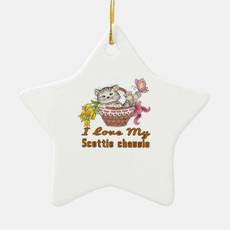 Ornamento De Cerâmica Eu amo meu chausie do Scottie