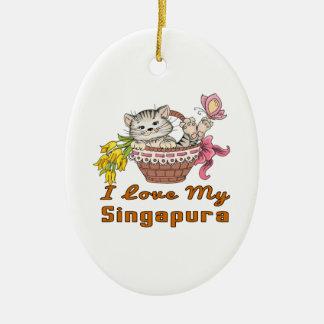 Ornamento De Cerâmica Eu amo meu Singapura