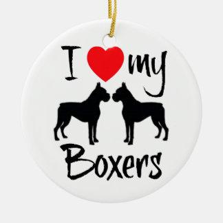 Ornamento De Cerâmica Eu amo meus cães de dois pugilistas