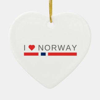 Ornamento De Cerâmica Eu amo Noruega