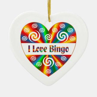 Ornamento De Cerâmica Eu amo o Bingo