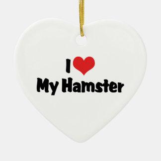 Ornamento De Cerâmica Eu amo o coração meu hamster