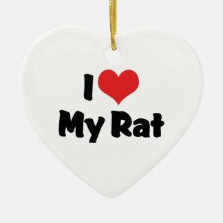 Ornamento De Cerâmica Eu amo o coração meu rato