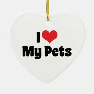 Ornamento De Cerâmica Eu amo o coração meus animais de estimação -