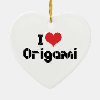 Ornamento De Cerâmica Eu amo o coração Origami