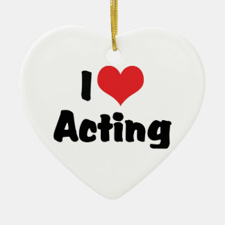 Ornamento De Cerâmica Eu amo o coração que actuo - teatro de artes de